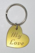 Brass My Love Heart Shaped Keyring