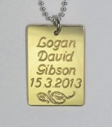 Brass Name with Birth Date Pendant