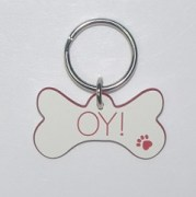 Plastic Bone ID Tag in White with Red Core
