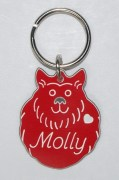 Plastic Fluffy Dog with Black Nose ID Tag