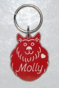 Plastic Fluffy Dog with White Nose ID Tag