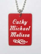 Plastic Names Rectangular Pendant
