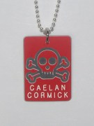 Plastic Skull & Cross Bones Pendant with Name