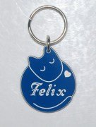 Plastic Sleeping Cat ID Tag in Blue